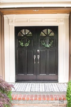 Front Door Makeover - Taryn Whiteaker Black Front Doors, Painted Front Doors, Front Door Makeover, House Trim, Trim Work, Modern Masters, Types Of Craft, Stone Texture, Touch Of Gold