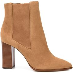 Alexandre Birman chunky heel chelsea boots ($1,195) found on Polyvore featuring shoes, boots, ankle booties, brown, thick heel booties, brown suede booties, suede beatle boots, brown booties and chelsea bootie