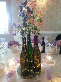 Wedding wine bottle table centerpiece