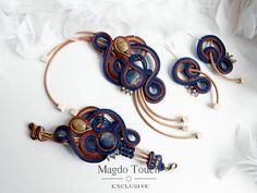 Royal blue soutache jewelry set blue soutache earrings and