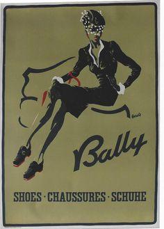 Original vintage poster BALLY SWISS FALL SHOE FASHION c.1950 | eBay