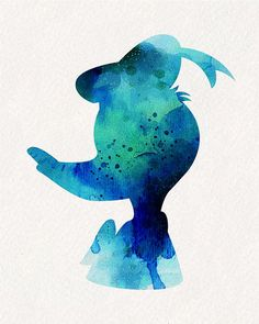Ocean Blue Donald Duck Watercolor Painting by watercolormagazine
