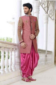 Stunning Pink With Designer Sleeve Mens Patiala Suit. For more information :- Call us @+919377222211 (Whatsapp Available)