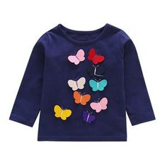 Winter Baby Clothes Baby Girls Tops And Tees Toddler Kids Baby Girls Long Sleeve Butterfly Applique T-Shirt Top Clothes Winter Baby Clothes, Baby Winter, Wholesale Boutique Clothing, Cute Butterfly, Matching Family Outfits, Baby Outfits Newborn, Toddler Girl, Baby Girls, Long Sleeve Tops