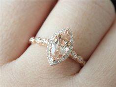 Marquise Cut Engagement Ring 14K Rose Gold Morganite Ring