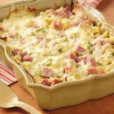"Ham and Swiss Casserole Recipe- Recipes ""When I prepare this noodle casserole for church gatherings, it's always a hit,"" writes Doris Barb from El Dorado, Kansas. ""It can easily be doubled or tripled for a crowd. Ham Casserole, Casserole Dishes, Casserole Recipes, Ham And Noodle Casserole, Cordon Bleu Casserole, Cauliflower Casserole, Broccoli Casserole, Linguine, Ham Recipes"