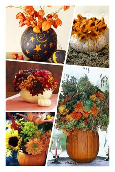 Fall / Autumn Decor Use a taller pumpkin as a vase for fresh flowers. Clean out the guts and seeds and use the pumpkin to arrange your flowers. Taller ones work... Pumpkin Vase, Autumn Decorating, Thanksgiving Decorations, Thanksgiving Ideas, Fall Decorations, Happy Fall Y'all, Autumn Inspiration, Autumn Ideas, Fall Pumpkins