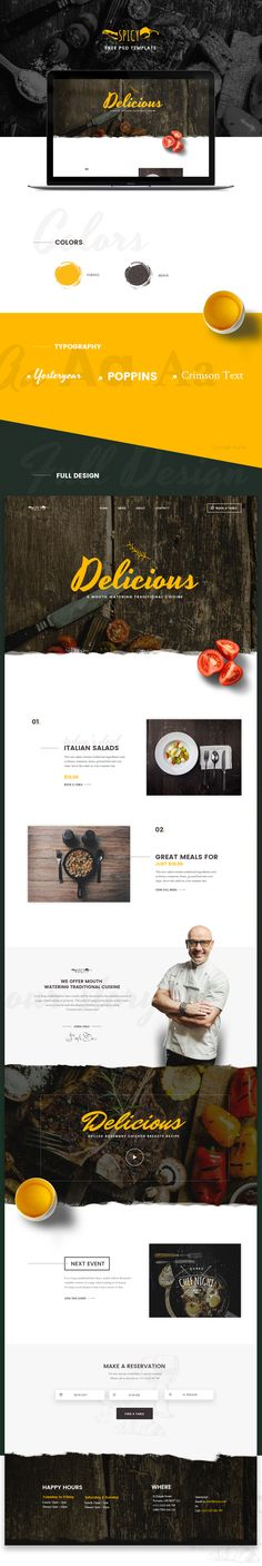 Free PSD template for restaurant & cafe.
