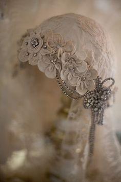 Sheelin Antique Lace Shop Antique Irish Crochet Headpiece—white, grey, ivory.