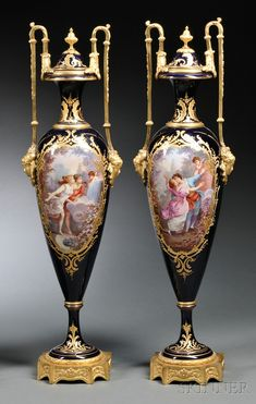 "Pair of Sevres Porcelain Vases, France, late 19th century, elongated baluster-form with flared foot and rim, on gilt base, with gilt mounted handles, with painted landscape to one side and a couple and Cupid to the other within gilt cartouches, signed ""H. Poitevin,"" blue interlaced L's mark to covers and base, ht. 26 in."