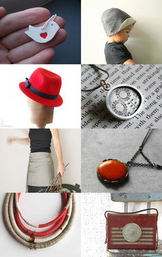 Red and Grey Lovely Finds by Marylène Chauveau on Etsy--Pinned with TreasuryPin.com