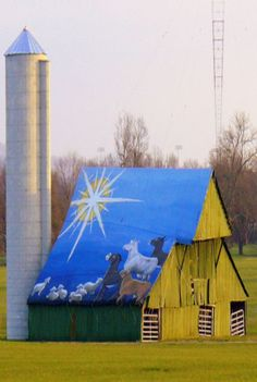 """Barn with """"Star of Bethlehem"""" roof art!  Jesus was born in a stable and this art seems to remember that!"""