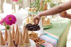 Party Table Details #icecream #social #poolparty # sundaebar #birthday #party