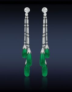 Colombian Emerald Drop Earrings, Featuring: Gubelin Certified 31.00 Tcw Green Colombian Emerald Drops (6 Stones) Highlighted with 5.03 Ct Round and Baguettes Cut Diamonds. Mounted in Platinum.