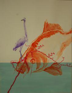 Leila Gaillard- mes dessins- les fables de la fontaine-la carpe et le heron 2éme version format 50/65