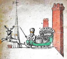 One the earliest illustrations (artist unknown) of Santa Claus, the secular character having evolved from St. This picture shows him on a rooftop with his sleigh & a reindeer for the first time. Father Christmas, Winter Christmas, Vintage Christmas, Christmas Feeling, Christmas Decor, Christmas Cards, Origin Of Santa, Common Prayer, Saint Nicholas