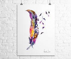 Hey, I found this really awesome Etsy listing at https://www.etsy.com/listing/162899176/birds-feather-art-print-watercolor