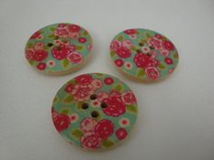 Wooden shabby chic button magnets by annagiles on Etsy, £4.00