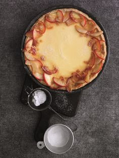 This delicious dessert is a smooth and creamy version of custard tart, topped with caramelised sea-salted South African apples and plain flour salt chilled butter, cut into pieces caster sugar 1 egg yolk Chilled water, to lo Pear Dessert, Apple Chutney, Pear Tart, Custard Tart, Banoffee Pie, Sea Salt Caramel, Pear Recipes, Apple Pear, Chocolate Fondant