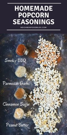 These Homemade Popcorn Seasonings will take your next movie night up a notch. With sweet, savory, cheesy, and peanut buttery options there's a seasoning here for everyone! #homemadepopcorn #movienight #popcornseasoning