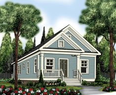 The Patterson by American Gables: 966 square feet of interior space houses two bedrooms and one bath in the single story home. This is a perfect house plan for a narrow/small lot with its 23'width and 42'depth dimensions and is suitable for a small family or vacation home.