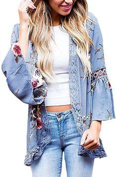 5b490c23204 Floral Seasons Women Split Lace Floral Midi Cotton Chiffon Kimono Cardigan  Loose Out Wear Blue Small