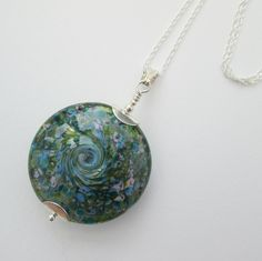 Floral Blue - Handmade lampwork glass round pendant necklace mounted on sterling silver - SRA - UK designer maker - Genuine HANDMADE by BlueBoxStudio on Etsy