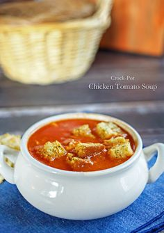 Slow Cooker Recipe - Crock Pot Chicken Tomato Soup. Easy and delicious!