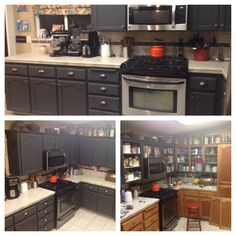 """Extreme makeover, kitchen edition! I painted my oak cabinets in my 14 year old home, using a mixture of Annie Sloan Chalk Paint and Behr Semigloss. 3 parts ASCP """"Graphite,"""" 1 part Behr latex semigloss """"Black Suede."""" The fraction of semigloss was enough to give a bit of sheen to the otherwise flat chalk finish of ASCP. It easily adhered w/o sanding! I brush painted the cabinet boxes, sprayed the doors with an air sprayer.  Everything got 2 coats, NO SEALER! Easily wipes down, it's been month+"""