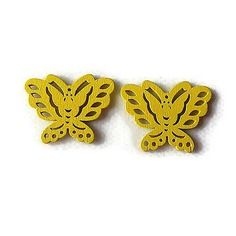 Embellissement papillon jaune en bois 22x28 mm, scrapbooking x2