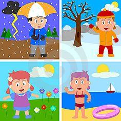 Seasons For Kids Clipart 10 Seasons Worksheets, Seasons Activities, Activities For Kids, Seasons Kindergarten, Kindergarten Art Projects, Four Seasons Art, Seasons In The Sun, Clown Crafts, Preschool Pictures