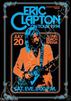 768-ERIC-CLAPTON-Long-Beach-Us-20-july-1974-artistic-concert-poster