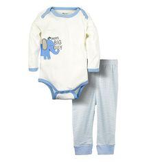 Big Elephant 2 Pieces Baby Boys Cute Printed Long Sleeve Shirt Striped Pants Set D91 (6-9 months, elephant)