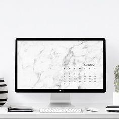 F R E E B I E August Desktop Calendar - Black Marble by More than Paper  Download at: www.morethanpaper.com.au/downloads