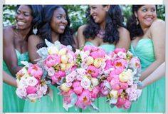Cute bridesmaids dresses, bouquets and styling
