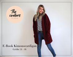 Der Kimonocardigan, ist ein verschlussloser Cardigan mit angeschnittenen Ärmeln, wie es bei einem Kimono üblich ist.  Der Cardigan hat eine weite Passform mit einer Teilungsnaht am Rücken und...