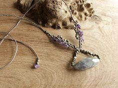 Gemstone crystal jewelry, Amethyst and Pyrite, necklace with no metal, knotted in light gray macrame cord. £36.00, via Etsy.