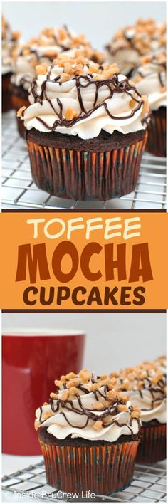 Toffee Mocha Cupcakes - homemade frosting, chocolate drizzles, and toffee bits add a fun flair to these easy chocolate cupcakes! Make this recipe for your next dinner party or picnic! #cupcakes #chocolate #homemadefrosting #toffee #easy #recipe #cakemix