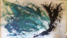 Fiona Tyler - Work in progress - Abstract oil on fabric