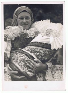 Vintage Photograph of Czech Mother and Baby in Ethnic Folk Costumes, Baptism. Bohemia People, Vintage Photographs, Vintage Photos, Folk Clothing, Prague Czech Republic, Principles Of Design, Folk Costume, My Heritage, Mothers Love