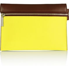 Victoria Beckham Textured leather clutch ($448) ❤ liked on Polyvore featuring bags, handbags, clutches, yellow, yellow clutches, victoria beckham purses, yellow purse, zipper purse and yellow handbag