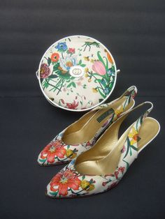 Gucci 'Flora' Canteen Handbag With Matching Silk Sling Back Pumps, 1970s image 4