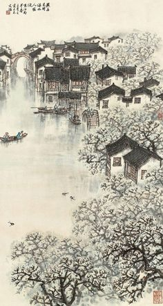 宋文治 | arte, pintura, paisaje, china Chinese Landscape Painting, Korean Painting, Japanese Painting, Japanese Art, Landscape Paintings, Background Drawing, Paint Photography, Art Japonais, China Art