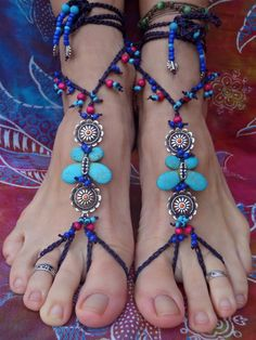 TURQUOISE BUTTERFLY BAREFOOT sandals