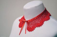 Red crochet lace collar / detachable peter pan collar / by Nastiin