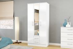 BIRLEA LYNX 3 DOOR 2 DRAWER WARDROBE WITH MIRROR, WHITE