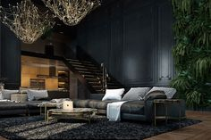 Decadent black color scheme interior design ideas for living spaces Dark Living Rooms, Living Spaces, Best Interior, Luxury Interior, Gold Interior, Gothic Interior, Luxury Apartments, Luxury Homes, Luxury Loft