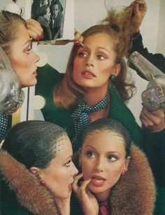 Lauren Hutton and Karen Graham by Richard Avedon for Vogue, 1973 #retro #vintage #hair #makeup #vintageads #supermodel