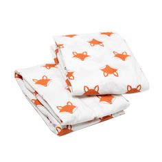 Bacati Playful Fox Print Crib Fitted Sheet