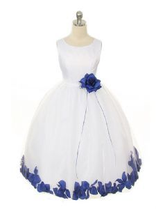Mia Ivory or White Flower Girl Dress with Royal Blue Petals